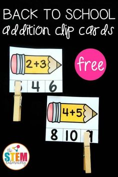 Back to School Addition Clip Cards! A great way to review math facts and work on fine motor skills this fall with kindergarten and first grade!