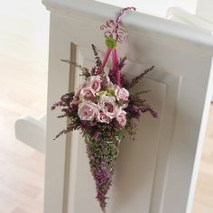 65 best church pew and wedding chair pomander flowers images on church pew end flowers and wedding decorations junglespirit Image collections