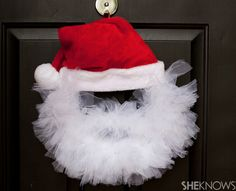 You'll love to make this fabulous Santa Tulle Wreath for the front door of your home. It's so quick and easy!