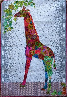 Beautiful and cheerful Giraffe on this quilt certainly inspires me.  #Quiltlove  third floor quilts: three quilts of Christmas past