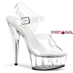 6e860ee940 DELIGHT-608, 6 Inch High Heel with 1.75 Inch Platform Clear Ankle Strap  Shoes