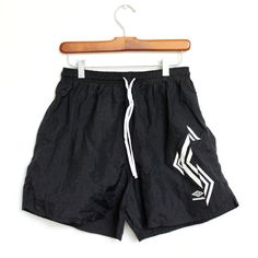 Umbro Shorts Mens Medium Large 26 28 30 Vintage Swimming Trunks Bathing Suit Swim Black Soccer Womens 1990s 90s Basketball