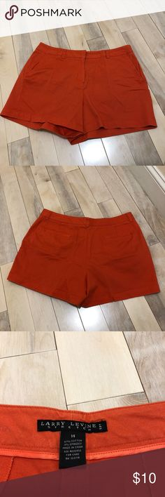 Cute orange shorts Larry Levine stretch shorts. 3 in. Inseam. Have been worn a few times. Larry Levine Shorts