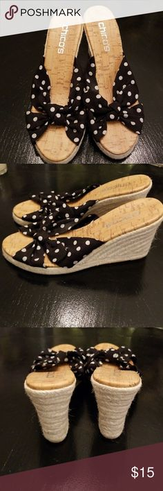 ❤ Chico's polka dot wedges Chicos wedges Black and white  Great condition Chico's Shoes Wedges