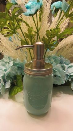 Handpainted Aqua Blue Mason Jar with Stainless Steel by Charvei