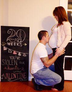 Valentines pregnant chalkboard 29 weeks