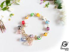 Charmed, Bracelets, Etsy, Jewelry, Products, Gold Wire, Crystal Bracelets, Charms, Eye