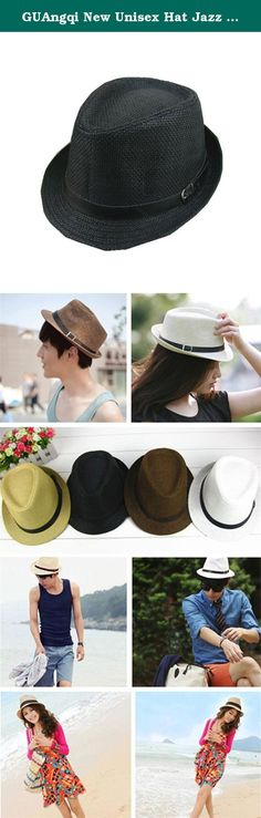 GUAngqi New Unisex Hat Jazz Hat Panama Hat Cap Fedora Trilby Sunbonnet Topee Sunhat. Made from woven straw, comfortable and durable Featuring pinched crown and curved brim Inseparable belt decoration with pin buckle A Great Accessory and suitable for men and women Material:Straw Main Colors:Brown, White, Black, Khaki Size Approx:11''x5.5''/28x14cm head circumference:22.79''/58cm Package included:1xhat .