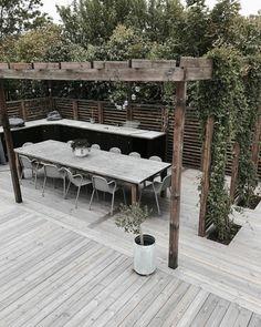Pergola, Backyard Lighting, Diy Garden, Outdoor Furniture Sets, Outdoor Decor, Backyard Projects, Lounge Areas, Sun Lounger, Terrace