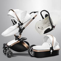 Baby Stroller 3 in 1 With Car Seat High View Pram For Newborns Folding 360 Degree Rotation