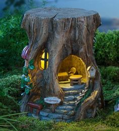 Miniature Fairy Garden Solar Staircase Stump House | Miniature Fairy Gardens | Fairy house, fairy home, tree stump fairy house, unique fairy house. by twila