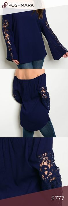 """Beauty in Blue"" OFF SHOULDER TOP Brand new Boutique item  Beautiful navy blue off shoulder top featuring feminine lace details on flared sleeves. A must have for the season!!  100% POLYESTER . Tops Blouses"