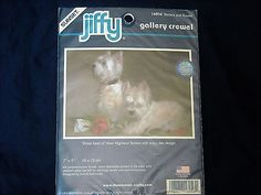 "Sunset Jiffy ""Terriers and Roses"" Gallery Crewel Kit Unopened"