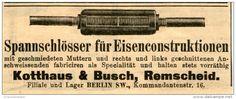 Original-Werbung/ Anzeige 1903 - SPANNSCHLÖSSER FÜR EISENCONSTRUKTIONEN / KOTTHAUS & BUSCH REMSCHEID - ca. 100 x 40 mm
