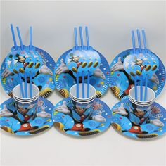 0687414b9 36pcslot Baby Shower Dishes Mickey Mouse Paper Plates Cartoon Kids Favors  Straws Happy Birthday Party Decoration
