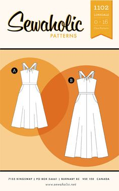 beginner pattern: Lonsdale Dress sewing pattern by Sewaholic Patterns with halter style neckline, flared skirt with pockets, sundress with knot front detail, long maxi dress pattern perfect for summer Pdf Sewing Patterns, Dress Patterns, Clothes Patterns, Paper Patterns, Sewing School, Skirts With Pockets, Flare Skirt, Dressmaking, Canada