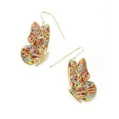 Adina Plastelina Butterfly Hook Earrings with Millefiori Pattern