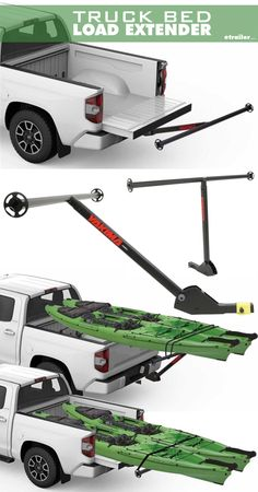 Kayak Storage Truck The new Yakima LongArm Truck Bed Extender weighs only lbs. - that's half the weight of some steel extenders! You won't break your back loading it into your hitch and you still get 300 lbs. of extra-long-load carrying strength. Kayak Rack For Truck, Truck Camping, Canoe And Kayak, Kayak Fishing, Camping Gear, Kayak Cart, Truck Bed Trailer, Kayak Trailer, Trailer Hitch