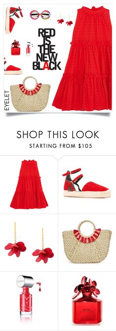 """Red"" by tato-eleni ❤ liked on Polyvore featuring Lisa Marie Fernandez, Rebecca Minkoff, Marni, Hat Attack, Oakley, Clinique and Marc Jacobs"