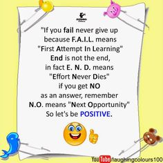 To FAIL is actually First Attempt in Learning