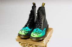 "Jeantrix - Custom Dr. Marten ""Daydreamer"" Boot,  (http://jeantrix.mybigcommerce.com/custom-dr-marten-daydreamer-boot/) Another Jeantrix handpainted boot. They apply a clear gloss after painting so the paint won't chip or peel."