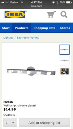 IKEA vanity mirror lights on both sides of a mirror