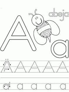 FICHAS DE CALIGRAFIA PARA NIÑOS:EL ABECEDARIO COLOREAR LETRA A : ACTIVIDADES PARA NIÑOS