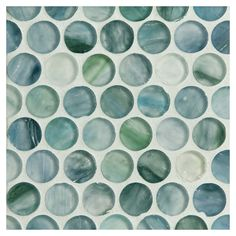 """Complete Tile Collection Zumi Glass Mosaic - Sapphire Oasis - Silk, 3/4"""" Penny Round Recycled Glass Mosaic, MI#: 038-G2-263-556, Color: Sapphire Oasis"""
