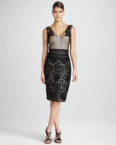 Sequin/Lace Cocktail Dress by Kay Unger New York at Neiman Marcus.