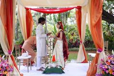 This destination fusion wedding includes a beautiful outdoor Hindu ceremony.