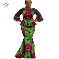 2017 Hitarget private custom african women suit o-neck pleated suit+floor-length fishtail skirt classical party suit Ankara Styles For Women, Fishtail Skirt, Party Suits, Latest African Fashion Dresses, Mix Style, Africa Fashion, African Women, African Dress, Traditional Outfits