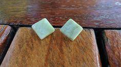 Unusual earrings Real Marble Earrings Green Marble Earrings