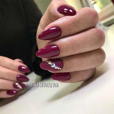 Elegant Burgundy Nails with Rhinestones