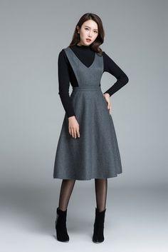 Midi wool dress knee length dress dark grey dress dress with pockets high waisted dress casual dress winter dress for woman 1645 Trendy Dresses, Nice Dresses, Casual Dresses, Mode Outfits, Dress Outfits, Fashion Outfits, Dress Fashion, Chic Outfits, Grey Gown