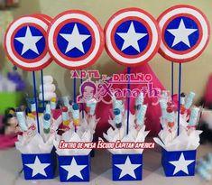 centro de mesa del Capitan America Bird Birthday Parties, Superhero Birthday Party, Boy Birthday, Avengers Birthday, Avenger Party, Captain America Party, Captain America Birthday, Hulk Party, End Of Year Party