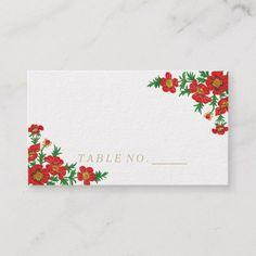 Elegant Poppy Red Flowers Place Cards Custom Office Retirement #office #retirement