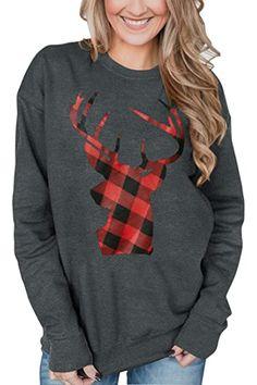 New For G and PL Christmas Women's Long Sleeve Graphic Sweatshirt reindeer christmas jumper. ($18.99) alltoenjoyshopping offers on top store
