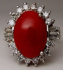 Ladies 14k white gold oval cabochon red coral ring with Rnd and tapered baguette Coral Ring, Red Coral, Baguette, White Gold, Rings, Jewelry, Jewlery, Jewerly, Ring
