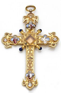 An antique gold, enamel and diamond-set pendant, circa 1880  in the form of a cross centering a reliquary (empty) with rose and old mine-cut diamonds, lapis lazuli and enamel detail representing four apostles, Mark with the lion, Matthew with the angel (obliterated), John with the eagle, and Luke with the bu