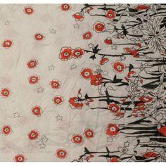 Tissu en polyester imprimé motif fleuri rouge et noir vendu en coupon de 3 mètres
