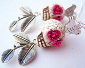Day of the Dead Earrings - Pretty Skull Earrings -  Jardin - White Skulls with Birds & Leaves - Frida Kahlo Inspired Jewelry