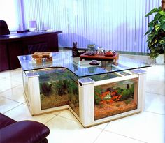 There are different types of coffee tables which are available these days. Another new type which has come up is called aquarium coffee table. An aquarium coffee table gives you the benefit of hav. Diy Aquarium, Aquarium Design, Aquarium Stand, Aquarium House, Turtle Aquarium, Aquarium Shop, Aquarium Ideas, Fish Tank Table, Fish Tank Coffee Table