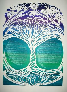 Tree of Life Ketubah with Robert Burns quotation  by jerise, $375.00