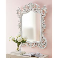Madeline Baroque Mirror (38,875 INR) ❤ liked on Polyvore featuring home, home decor, mirrors, baroque mirror, baroque home decor, beveled mirror and white lacquer mirror
