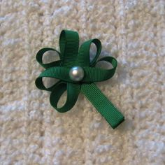 St Patricks Day Hair Bow  Shamrock Hair Clip St by NeverlandNook, $3.60