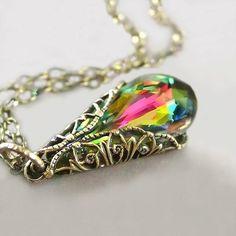 Pink Green Crystal Necklace Swarovski Necklace by DorotaJewelry
