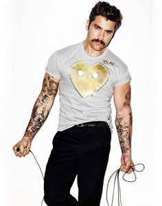 I love the mustach and the tatoos