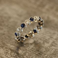 Natural Sapphire and Diamond Eternity Band 14k by LaMoreDesign