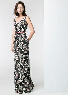 Robe longue dentelle - Robes - Femme - MANGO
