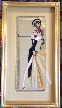 """Becky Worsham just finished """"Copa"""" showgirl needlepoint by Leigh Designs!"""